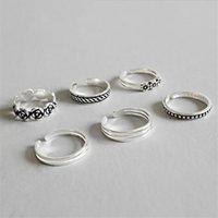 AprilGrass Марка Дизайнер Хвост Knuckle Toe Ring 100% стерлингового серебра 925 Несколько линий Carven цветов Бисер Открытые Кольца для женщин