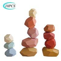 Madera Piedra de los niños de color Jenga Bloque de construcción de juguete educativo creativo nórdica estilo de apilamiento juego del arco iris de madera de juguete de regalo C0927