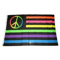 3x5FT Neon Peace Symbole USA arc-en-Drapeau, Polyester Tissu 100D Polyester publicité Hanging, Extérieur Intérieur, Livraison gratuite