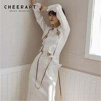 CHEERART White Pleated Long Midi Dress Ruffle Flower Patch D...