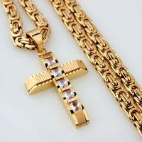 Trendsmax رجالي الفولاذ المقاوم للصدأ قلادة الصليب قلادة شقة سلسلة البيزنطية الذهب والفضة لهجة الأسود 6MM 18-36inch