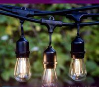 IP65 15M LED أضواء سلسلة S14 E27 ماء دافئ LED ريترو اديسون الشعيرة مصباح في الهواء الطلق شارع حديقة فناء إضاءة