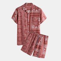 E-Baihui 2021 Homme 2PCS Trajes de verano Trajes de verano Camisa de diseño de playa + Traje corto Hombre Casual Holiday Imprimir Hombres Top Camisas y pantalones cortos Impresión floral Homewear T0710