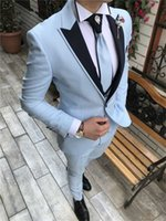 High Quality Groomsmen Peak Lapel Groom Tuxedos Baby Blue Me...