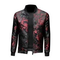 Floral chaquetas flor del bordado elegante de la chaqueta de bombardero capa de los hombres de bolsillo de prendas de vestir exteriores de la cremallera hombres de la moda masculina Slim Fit Veste masculino