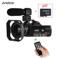 Andoer AC3 전문 비디오 카메라 4K 총성이 캠코더 w / 추가 0.39X 광각 렌즈 + 렌즈 후드 + 외장 마이크