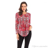 Shirt Long Sleeve Loose Print T-Shirt Casual Female Clothes Fashion Designer Blouse Plus Size Womens Blouse V Neck