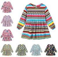 Дети Весна Baby Girl платье моды девочек принцессы платье смазливая длинный рукав One Piece платье флоры нашивки напечатанных Мебельное 90-130cm D82005