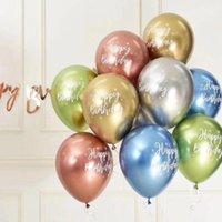 10pcs 12inch Krom madeni lateks balonlar mutlu yıllar baskılı desen balon helyum metal globos doğum günü partisi süslemeleri