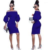 Female Spring Autumn Bodycon Dresses Fashion Designer Slash Neck Puff Long Sleeve Dresses Women Asymmetrical Dresses