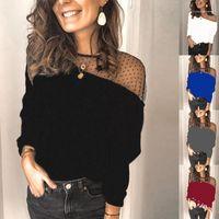 Сплошной цвет Женский Одежда Женщины Конструктор Tshirt Мода Щитовые с длинным рукавом Тонкий Brife Lace Блуза Tops
