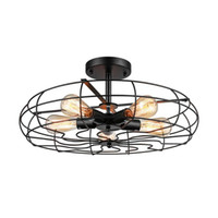 Retro Industrial Fan Style Metal Cage Ceiling 5 Lights Semi Flush Mount Rustic Pendant Light Lamp chandelier