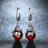 JIASHUNTAI 100% 925 Sterling Silver Garnet orecchini per le donne Retro rubino pietra preziosa rossa rotonda Orecchini gioielli regali 200922