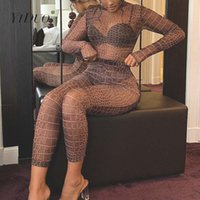 Yiduo 2020 Snake Stampa Mesh See-Through Body e leggings 2 pezzi Set Club partito di usura Autunno Inverno donne sexy Outfits
