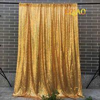 Décoration de fête LQIAO GOLD 1MX3M PLAQUER FONDS FONDS PROM PROND MARIAGE PO RESTAURATS Rideaux pour filles-M202113
