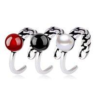 Retro Fashion Black Pearl Rosso di pietra naturale d'argento tailandesi di colore asimmetrici anelli per gli uomini le donne S-R65