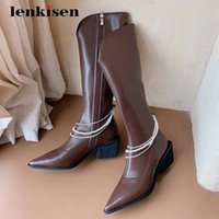 Lenkisen equestrian boots gladiator microfiber beading decorations chains pointed toe thick high heel zipper knee high boots L61