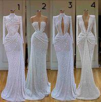 Новейшие Блестящие Вечерние платья Glitter Germaid High Will Weakes Beared Длинные Рукавы Размельки Официальные Партии Платье на заказ Дополнительное Платье