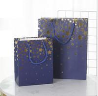 البرنز ستار هدية كيس ورقي، Cothing أكياس زرقاء أكياس حفل زفاف يوم عيد الميلاد الشوكولاته PACKAGIN هدية 96PCS / الكثير