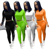 2020 luxurys Mulheres Impresso Outfits manga comprida Tops + Calças Legging Esporte Suit Moda Sólidos yoga Cor Fatos roupa terno D82807