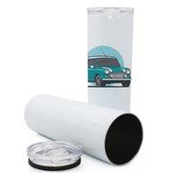 DIY Plain White 30oz 20OZ Skinny Coupe isolé 600ml 900ml Coupes droites en acier inoxydable Bouteilles à vide Tasses voiture vide Sublimation F92404