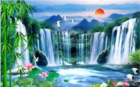 3 차원 벽화는 자연 경관을 그림 방 폭포 대나무 연꽃 풍경을 생활 벽지 배경 벽을 배경 화면