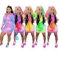 Bayan Elbiseler Hoodie Hırka Elbise Uzun Kollu Rahat Ince Elbise Tek Parça Set Moda Baskı Cep Parti Akşam Gece Kulübü Elbise KLW4841