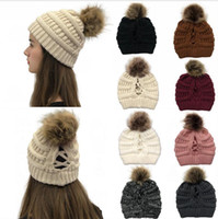 Knitted Hat Women Winter Pom Pom Beanie Skullies Ponytail Cr...