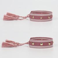 Набор 2 моды завязывает кисточку супер тканые браслеты дружбы; регулируемая звезда пряжка хлопок браслет, подарок хороший для друзей