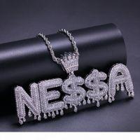 Nome personalizzato gioielli della corona Bail Drip Iniziali lettere bolla collane della catena zircone Regalo di Halloween a sospensione Micro asfaltata collana