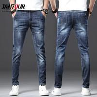 Jantour 2020 Мода марка European American Style Stretch Мужские джинсы Роскошные мужские джинсовые брюки Тонкий прямой Глубокий синий мужские