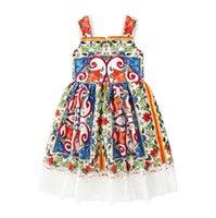 드레스 여름 새로운 2020 여자 전체 인쇄 레이스 어린이 슬링 공주 드레스 LY048