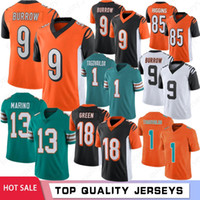 13 Dan Marino 9 Joe Burrow Men Football Jerseys Tua Tagovailoa 18 A.J. 녹색 85 티 Higgins 2020 새로운 주식