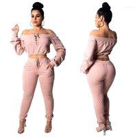Fatos Sexy Magro Mulher designer treino 2 Pants Pedaço Corte Neck Solid Color Manga comprida Pullover Tops da forma das mulheres