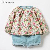 Kleine Kinder-Kleidungssätze 2019 Herbst neue Mädchen Baumwolle Marke maven Tops Blumendruck T-Shirt + Himmelblau Shorts 20251 0926