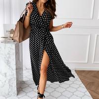 Hot Summer Frauen Boho Vintage-Kleider der Frauen-Dame der Hülse kurzen beiläufigen Strand Sundress Verband Split Tupfen Kleid weiblich 2020