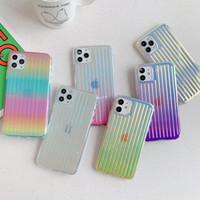 2020 11 Pro XR XS X 7 8 Artı SE iPhone 12 için Lüks Renkli Gradient Temizle Lazer Çizgili Silikon Yumuşak TPU Arka Kapak Telefon Kılıfları