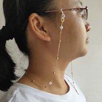 de metal de las lentes de cadena del grano regalo bucles de silicona cadena de metal chapado blanco encanto de la perla de plástico Máscara de cuerda colgando de gafas de sol mujeres accesorias