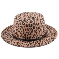 أزياء ليوبارد قبعات كبيرة للأطفال الصوفية ورأى قبعة قديم بنات أبازيم جلدية واسعة بريم كاب النساء الكبير الصوفية كاب A4480