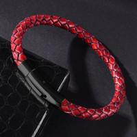 Cross-frontera Se vende joyas al por mayor Pulsera de cuero tejido a mano negro Botón Snap Vintage Pulsera Simple Hombres y mujeres