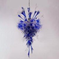 Lámparas colgantes de vidrio soplado a mano colgante-claro azul claro flor araña iluminación 48 pulgadas luces led fuente romántico navidad boda arte decoración