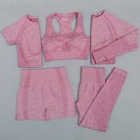3 / 5PCS Kadınlar Yaşamsal Sorunsuz Yoga Seti Egzersiz Spor Giyim Spor Giyim Kısa / Uzun Kollu Crop Top Yüksek Bel Tozluklar Spor Suit