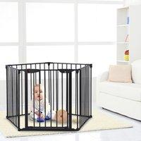 Waco Szeroki Konfigurowalny Dziecko Bramy Kominek Bezpieczeństwo Ogrodzenie Ochraniacze Regulowany 5-Panel Metal Play Yard Dla Toddler Pet Dog Christmas Ogrodzenie