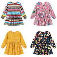 أطفال الربيع طفلة اللباس العصرية بنات فساتين الأميرة لطيف كم طويل قطعة واحدة اللباس فلورا الشريط مطبوعة الملابس NEW D82005