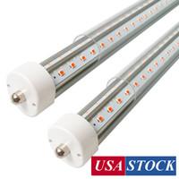 T8 FA8 LED luces de tubo, 96 '' 8FT 45W (80W EQ) 6500K, FA8 PIN simple V Con forma de doble fila 72W 7200LM, Powered de doble extremo, cubierta clara