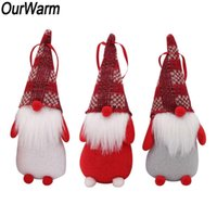 OurWarm 3pcs Gnome Christmas Ornaments New Year Decoration Santa Clause Doll Holiday Table Decor Party Present