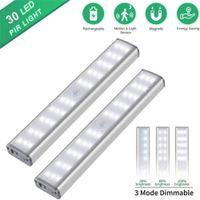 USB Recarregável LED Gabinete Light Motion Sensor 30 LEDs Closet Lâmpada 3 Modos de Iluminação para Cozinha Roupeiro Armário Quarto Casa