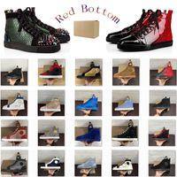 Zapatos Top para hombre de la moda de fondo plano zapatos rojos de alta calidad Negro Blanco Casual Hombres Mujeres remache zapatos ocasionales del tamaño 35-48 con la caja