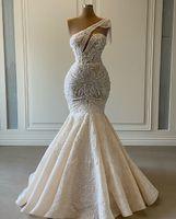 2020 Plus Size Arapça Aso Ebi Lüks Dantel Boncuklu Gelinlik Bir Omuz Denizkızı Gelin Elbise Vintage Gelinlikler ZJ0553
