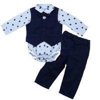 مل 3pcs طفل الرضيع طفل بنين طباعة بلايز رومبير + سترة + سروال تتسابق مجموعة ملابس السادة الناعمة نظرة ذكية 8 أغسطس